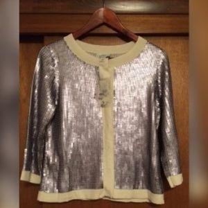 NWT Loft Silver Sequin Cream Cardigan Medium